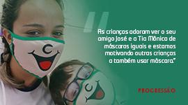 Máscaras de proteção fazem sucesso no Colégio Progressão